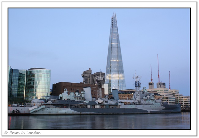 The Shard and HMS Belfast just before sunrise