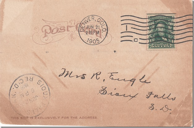 June 21, 1905 - Postcard from Chas. A. Engle to Mrs. R. Engle