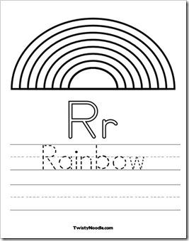 Preschool alphabet rainbow for Rainbow coloring page for preschool