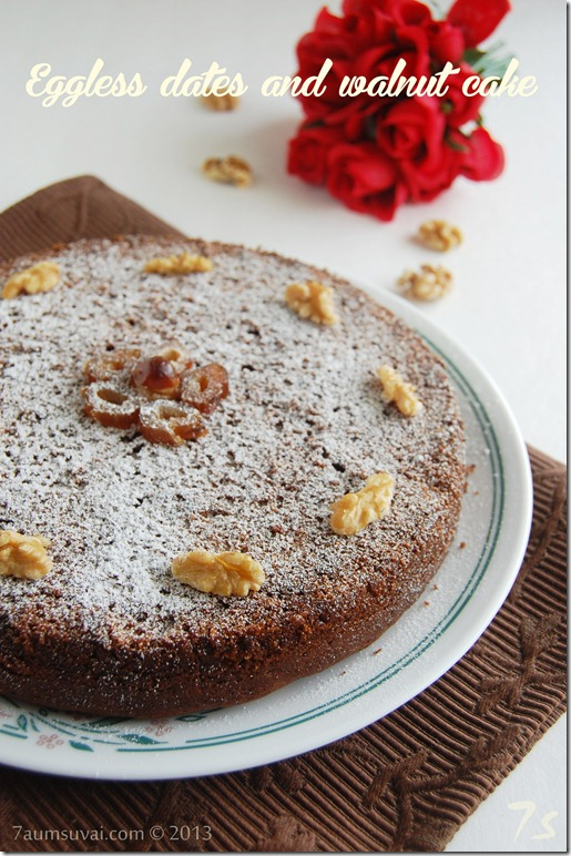 Eggless Walnut Cake Recipe