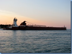 3740 Ontario Sarnia - Lake Huron at sunset - Great Lakes Trader barge being pushed by the tug Joyce L. VanEnkevort