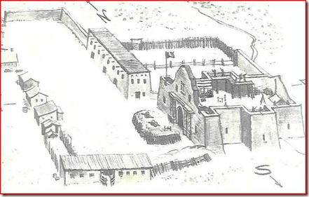 Old sketch of the Alamo