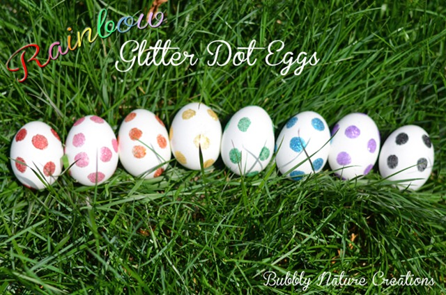 feature glitter dot eggs