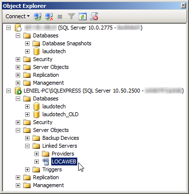 SSMS Object Explorer and the Linked Server LOCAWEB in my local SQL Server Express instance