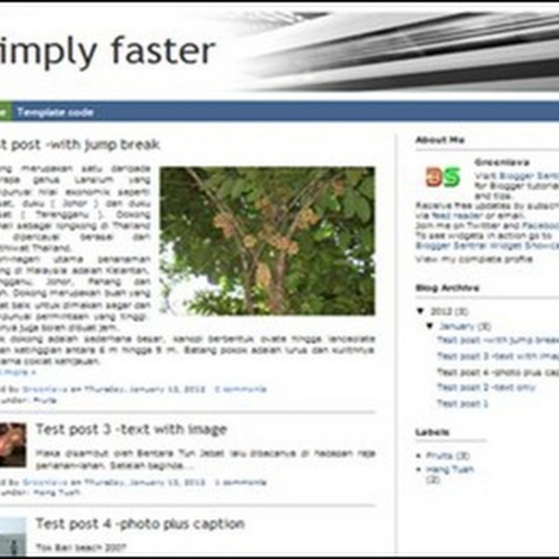 Simply faster free Blogger template