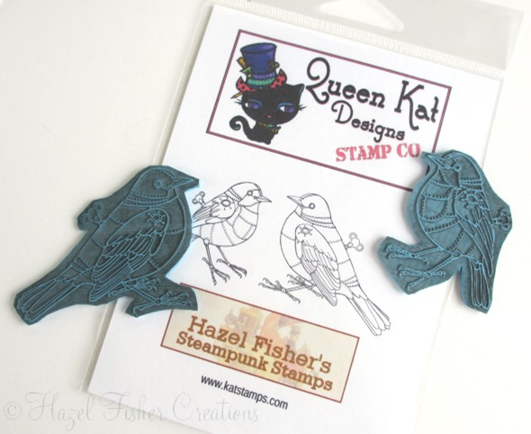 2013May23 rubber stamp steampunk card clockwork blackbird 2