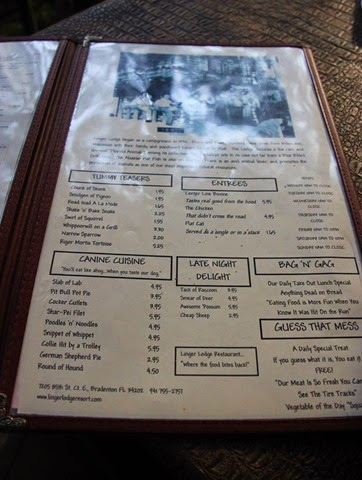 Linger Lodge Menu