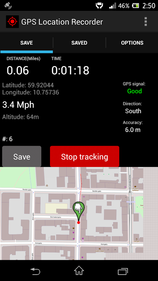 GPS Distance Location Tracker - screenshot