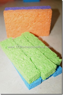 cut colorful sponges into 3-5 strips each lengthwise