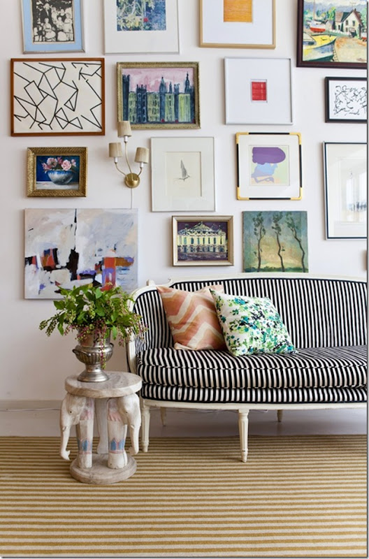 Great gallery wall and love that striped settee-design addict mom