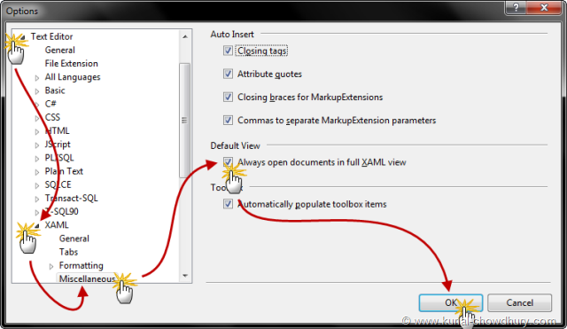 Change Settings to Open the documents in full XAML view