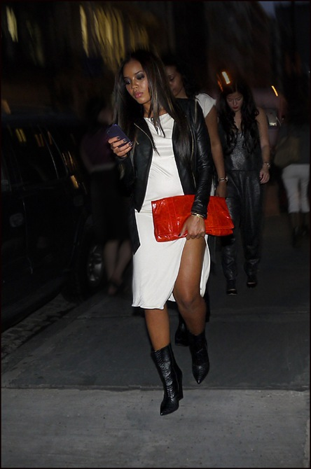 w white dress black leather jacket red clutch bag  ol