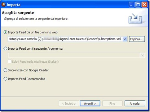 RSSOwl importare feed da Google Reader
