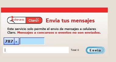 Envio de mensajes SMS a Claro Puerto Rico gratis