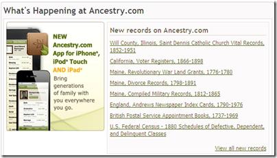 Ancestry.com..主页上的一个框具有重要的新集合