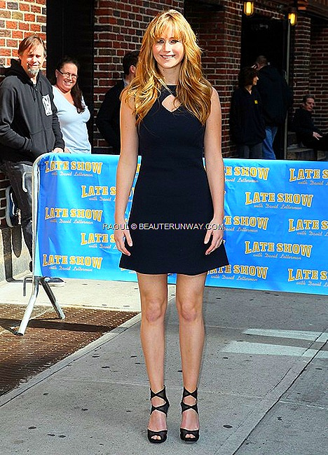 JENNIFER LAWRENCE  RAOUL PRE-FALL 2012 COLLECTION DIAMOND DRESS IN NAVY NEW YORK Bloomindales DAVID LETTERMAN LATE NIGHT SHOW