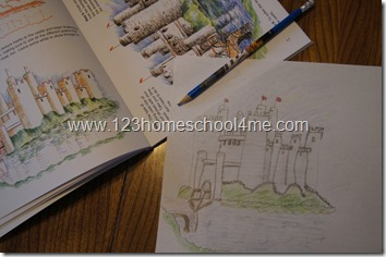 Drawing a castle for homeschool art and hands on history