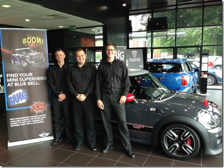Blue Bell MINI Crewe's Phil Legerton, Phil Aggus and Joe Wardle put the finishing touches to the dealership's #MININotNormal Fun Day 2