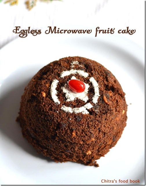 Eggless Microwave Fruit Cake Recipe