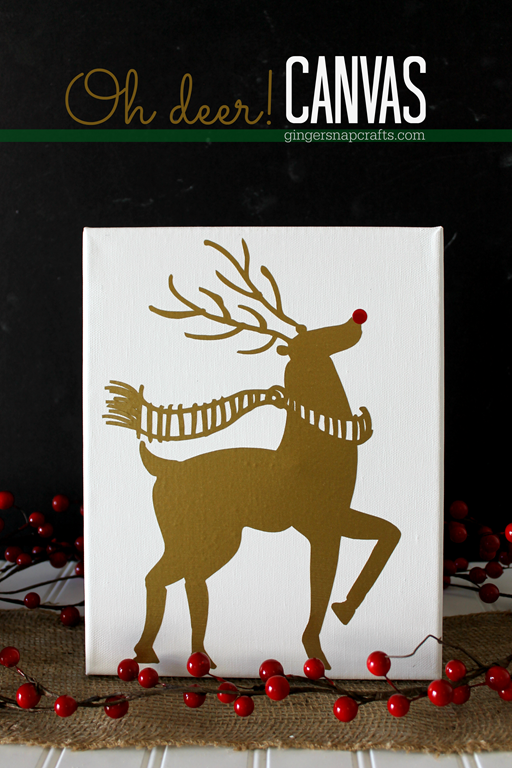 Oh Deer! Canvas at GingerSnapCrafts.com #Silhouette #SilhouetteRocks #Christmas #crafts