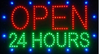 24 hours open electronic led message sign main
