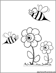 bees-flowers-flores-coloring-page