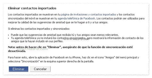 Eliminar contactos sincronizados Facebook