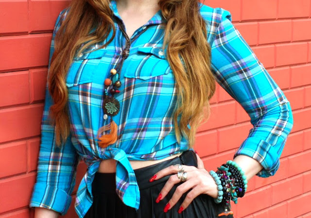 Blue Plaid Shirt, Feather Necklace, Hand Beads