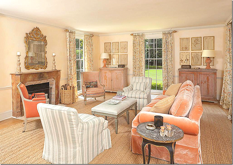 The Gorgeous Living Room I Love This Apricot Velvet Sofa Blue Linen Stripes Checks And Floral Curtains