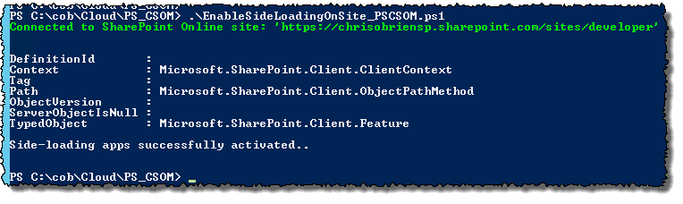 PS CSOM enable side loading