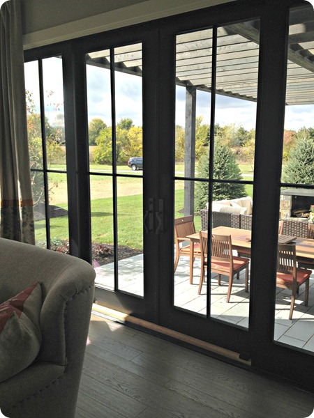 black sliding glass doors