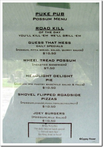 Bushmans Centre menu.