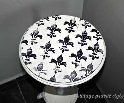 fleur de lis stamped white side table