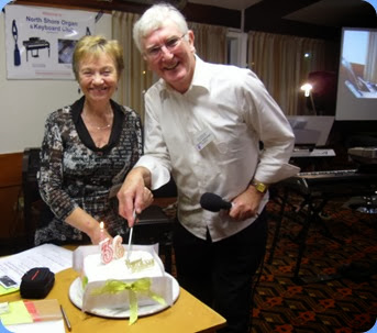 Our Catering Manager, Diane Lyons, and President, Gordon Sutherland, cutting the 36th Birthday cake. The fruit cake was baked by Committee member, Peter Littlejohn, and iced by his mum, Diane Littlejohn. Tasted scrummy too!  Photo courtesy of Dennis Lyons.