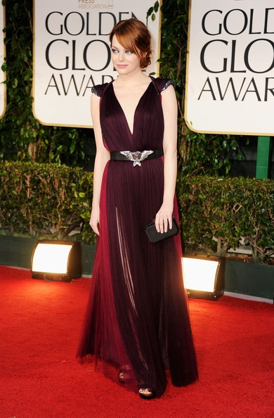 Emma Stone arrives at the 69th Annual Golden Globe Awards