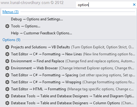 Visual Studio 2012 Quick Launch - Options