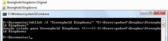 Criando um link simbólico com o mklink.