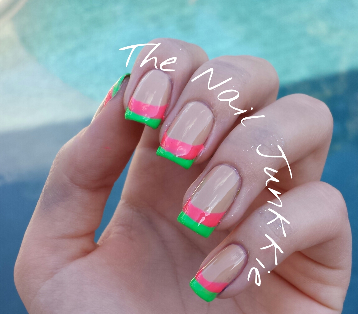 The Nail Junkkie: Neon french manicure!