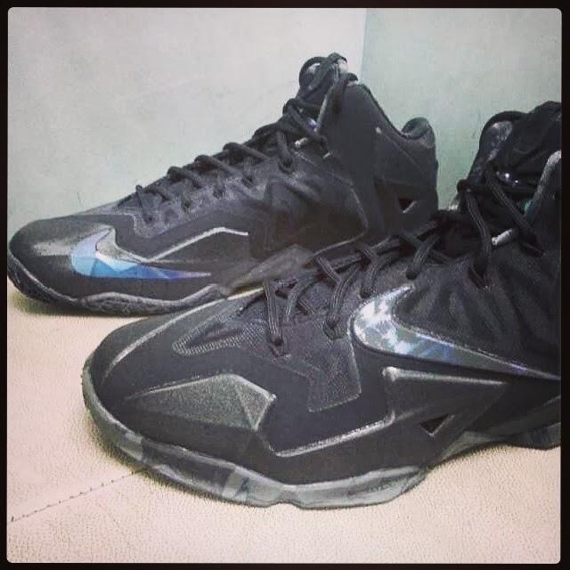 super popular 0e541 b5c52 ... New Nike LeBron 11 Triple Black with Camo Details ...
