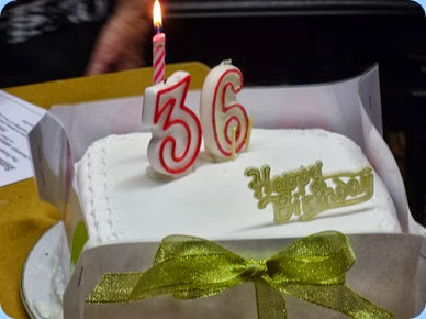 A close-up of our lovely 36th Birthday cake. Photo courtesy of Dennis Lyons.
