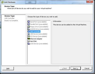 VMWare vSphere 4 1: Adding USB Devices to Vitual Machine