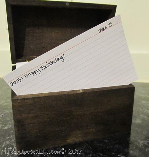 perpetual calendar recipe box