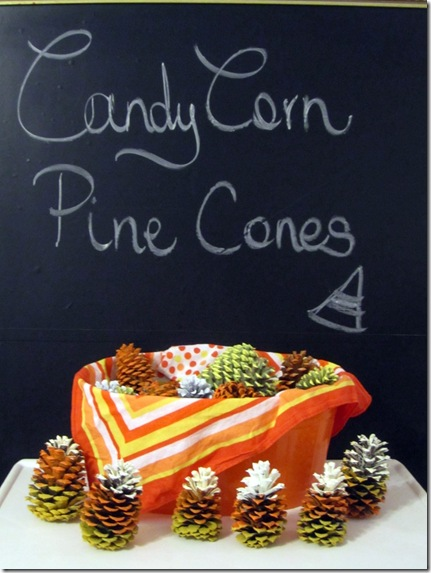 Paint Pinecones to look like Candy Corn {Krafty Kat}