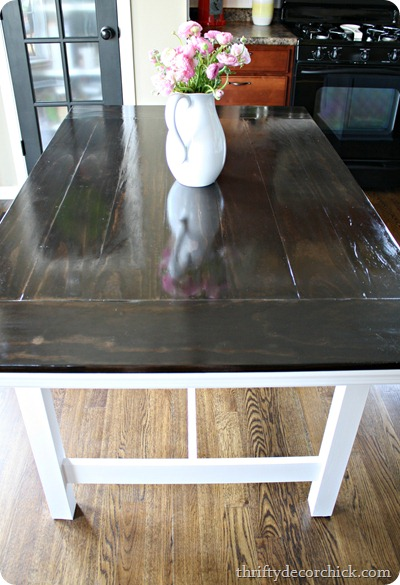 IKEA Table Turned Farmhouse Table From Thrifty Decor Chick - Farmhouse table with white base