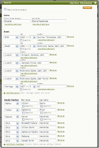 自动填充树中的信息中的Ancestry.com搜索表格
