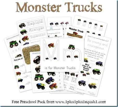 Monster Trucks Free Printables