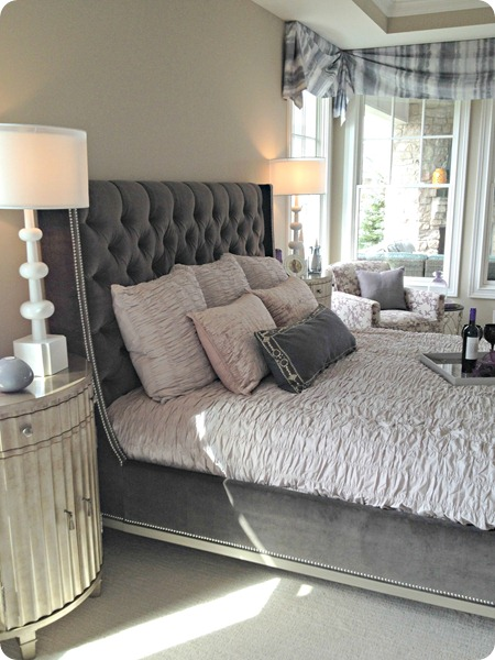 gray tufted headboard