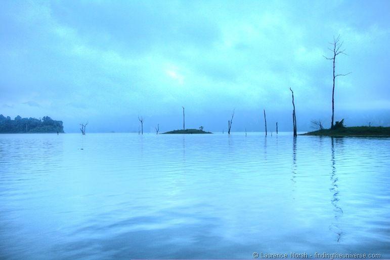 Khao sok lake reflection blue hour sunrise