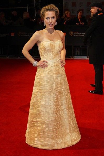 Gillian Anderson attends The Orange British Academy Film Awards 2012