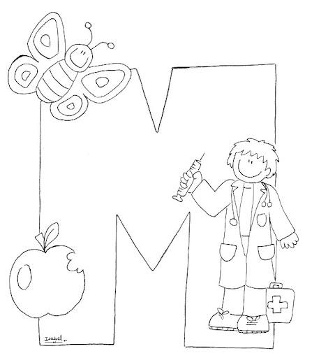 M Abecedario Profesiones Dibujalia Dibujos Para Colorear